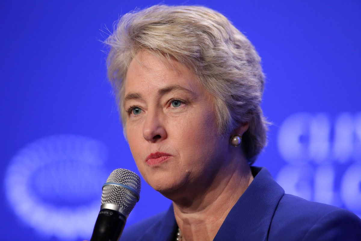 Mayor Annise Parker of Houston speaks at a press conference on 'Mayor's National Climate Change Action Agenda during the second day of the Clinton Global Initiative's 10th Annual Meeting at the Sheraton New York Hotel & Towers on September 22, 2014.