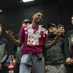 Donte Ingram during the Ramblers rally. | Tyler LaRiviere/Sun-Times