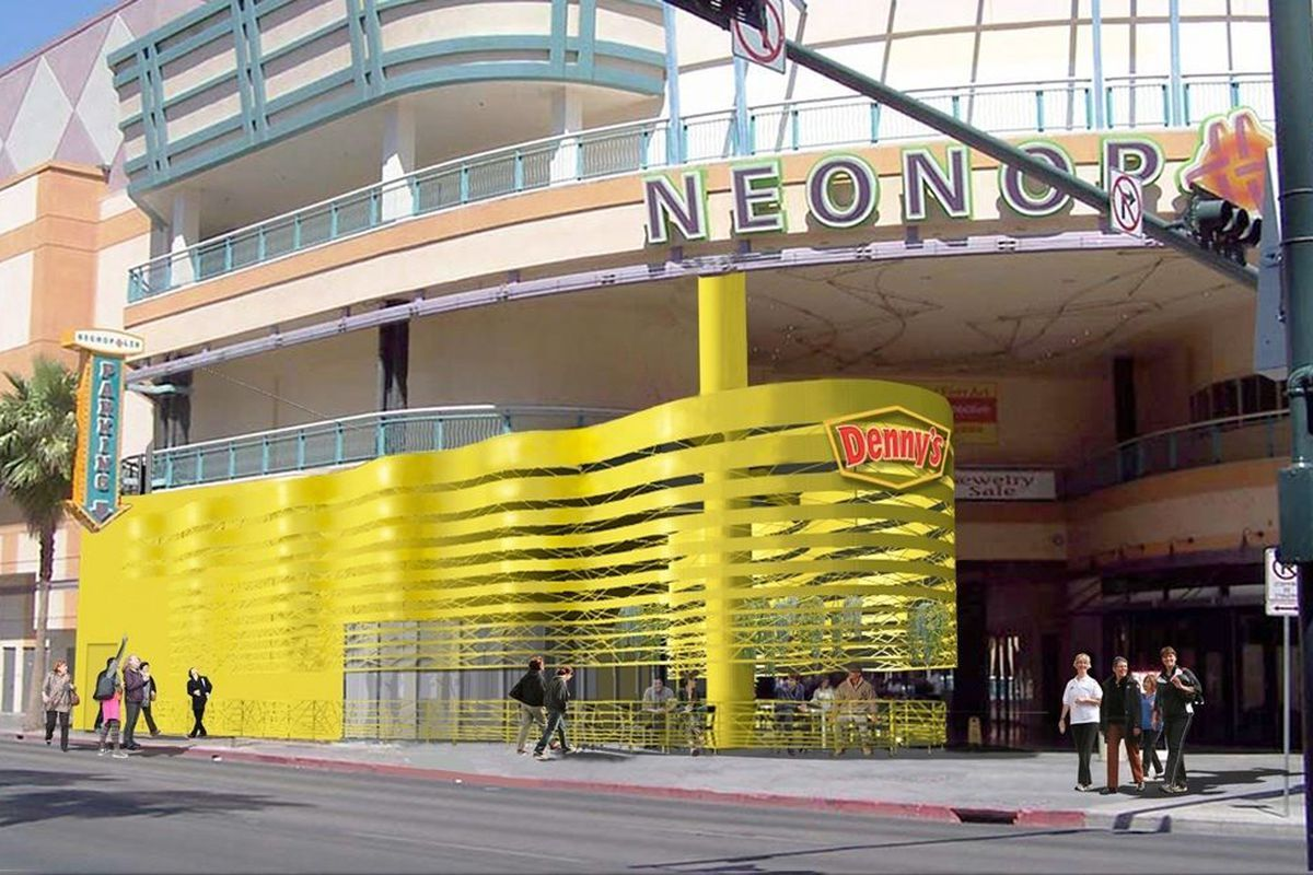 A rendering a Denny's, going in at Neonopolis.