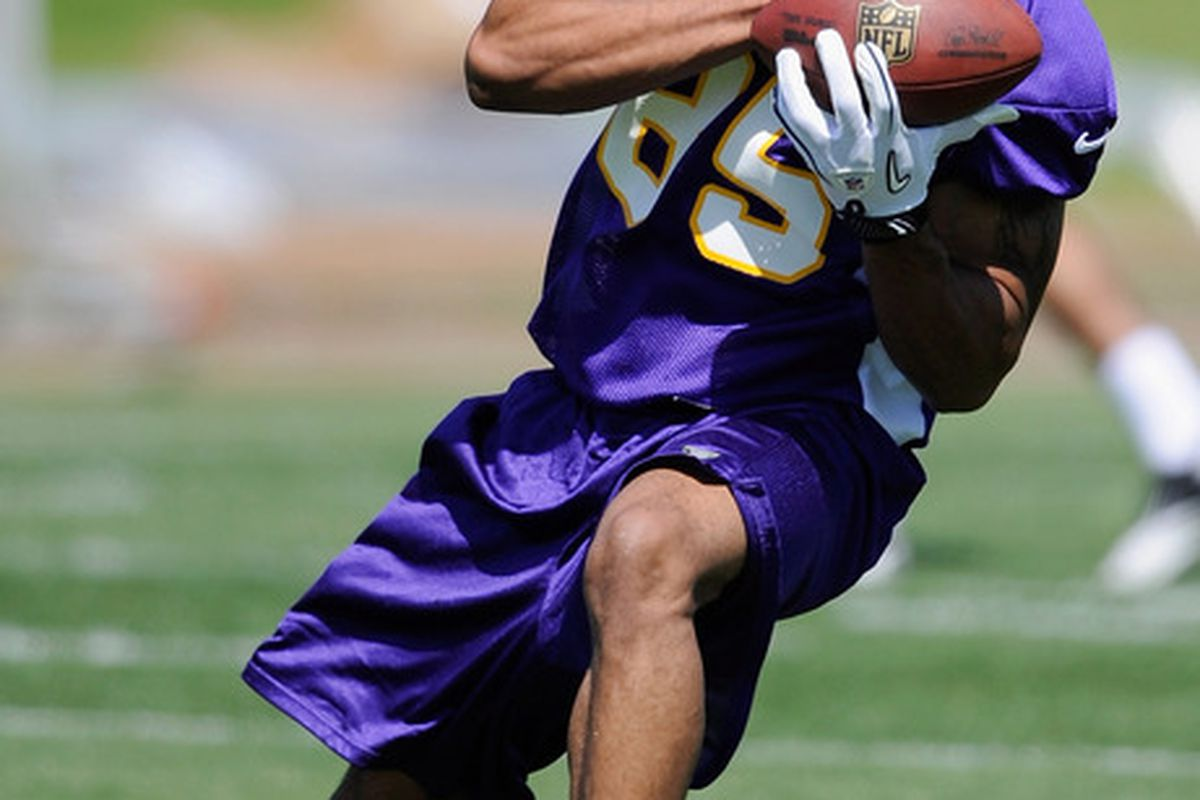 EDEN PRAIRIE, MN - MAY 4: Greg Childs #85 of the Minnesota Vikings makes a catch during a rookie minicamp on May 4, 2012 at Winter Park in Eden Prairie, Minnesota. (Photo by Hannah Foslien/Getty Images)