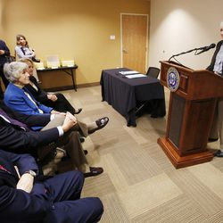 Homeless advocate and businesswoman Gail Miller speaks prior to Gov. Gary R. Herbert signing two bills — HB436 and HB437 — at the Fourth Street Clinic in Salt Lake City on Friday, March 25, 2016. HB346 will pump $9.25 million into homeless services and shelters, the first of three years of funding that should eventually amount to $27 million. HB347 will provide $15 million to expand Medicaid coverage to the state's poorest of the poor.