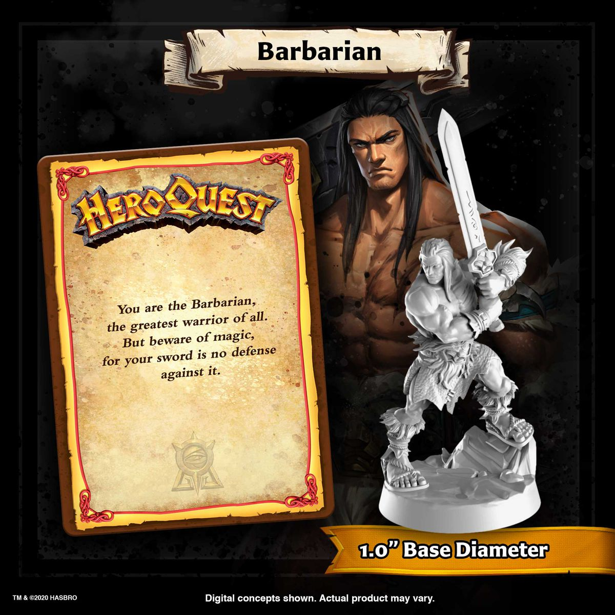 A character card for the male barbarian. The sculpt includes the original's baseball-bat pose, but adds actual sandals.