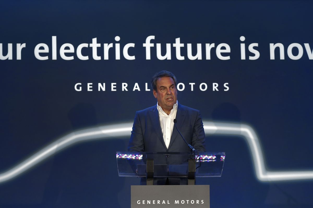 GM President Mark Reuss, speaks at the GM Detroit-Hamtramck Assembly plant in Hamtramck, Mich., on Jan. 27. General Motors is spending $2.2 billion to refurbish the underused factory so it can build a series of electric and self-driving vehicles.