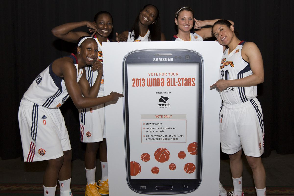 Connecticut Sun Players Allison Hightower, Kalana Greene, Tina Charles, Kelsey Griffin and Kara Lawson encourage fans to vote for their favorite players for the 2013 WNBA All-Star Balloting presented by Boost Mobile.