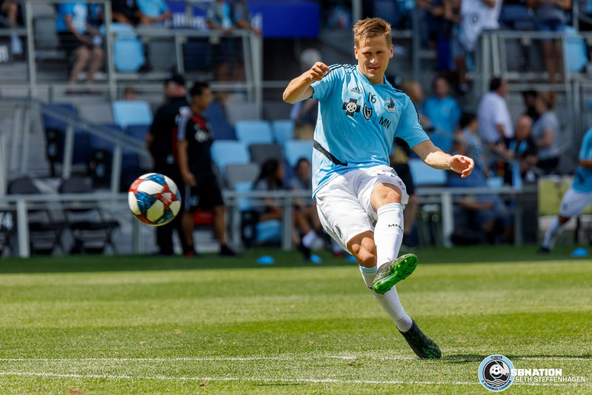 August 4, 2019 - Saint Paul, Minnesota, United States - Minnesota United midfielder Robin Lod (16) warms up before the match against the Portland Timbers at Allianz Field in which he makes his debut.