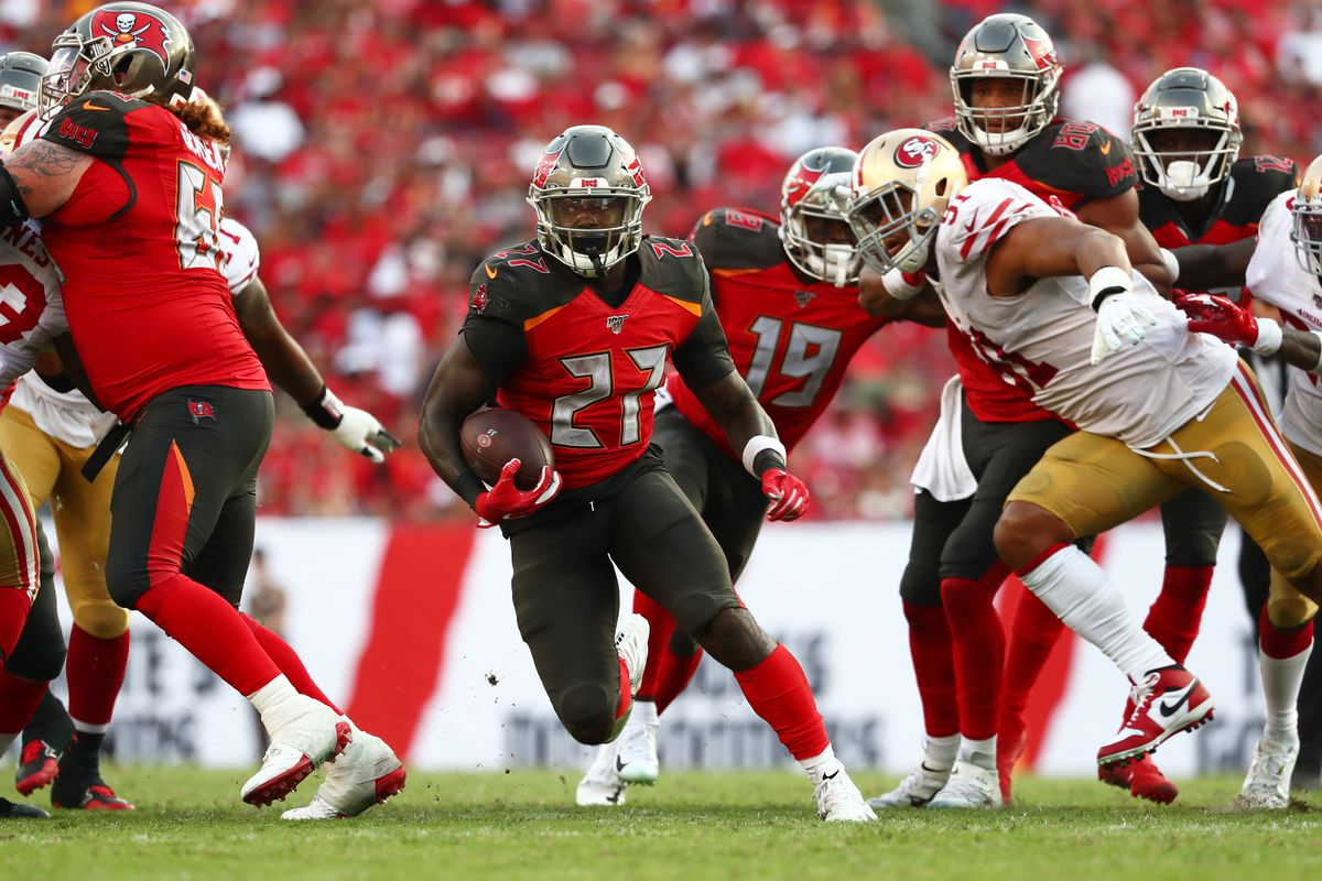 Tampa Bay Buccaneers running back Ronald Jones runs with the ball against the San Francisco 49ers during the second half at Raymond James Stadium.