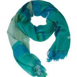 """<b>Theodora & Callum</a> <a href=""""http://otteny.com/catalog/sale/accessories/serape-gypsy-scarf-in-aqua.html"""">Serape Gypsy Scarf</a>, $69.30 (was $165)"""