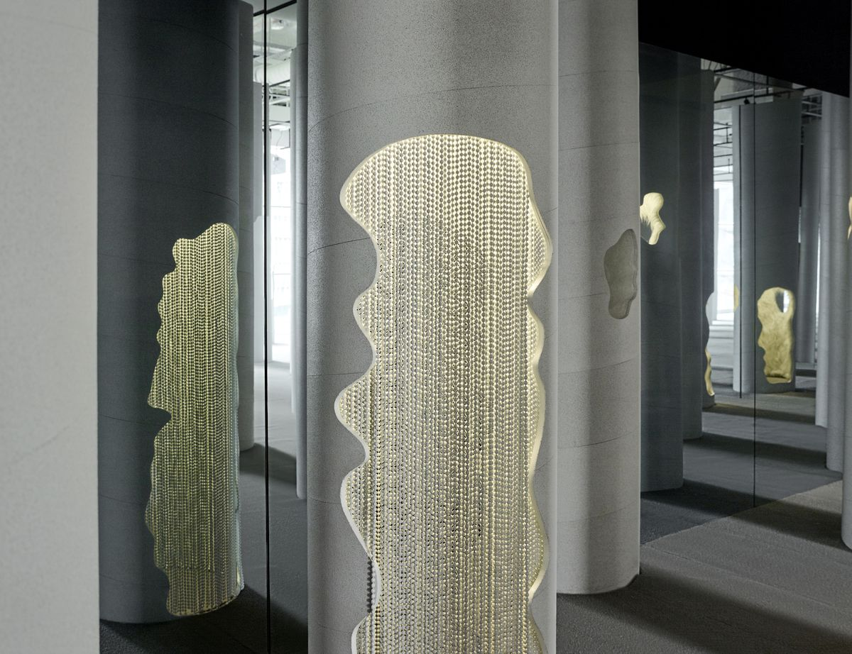 Column with glowing cut out