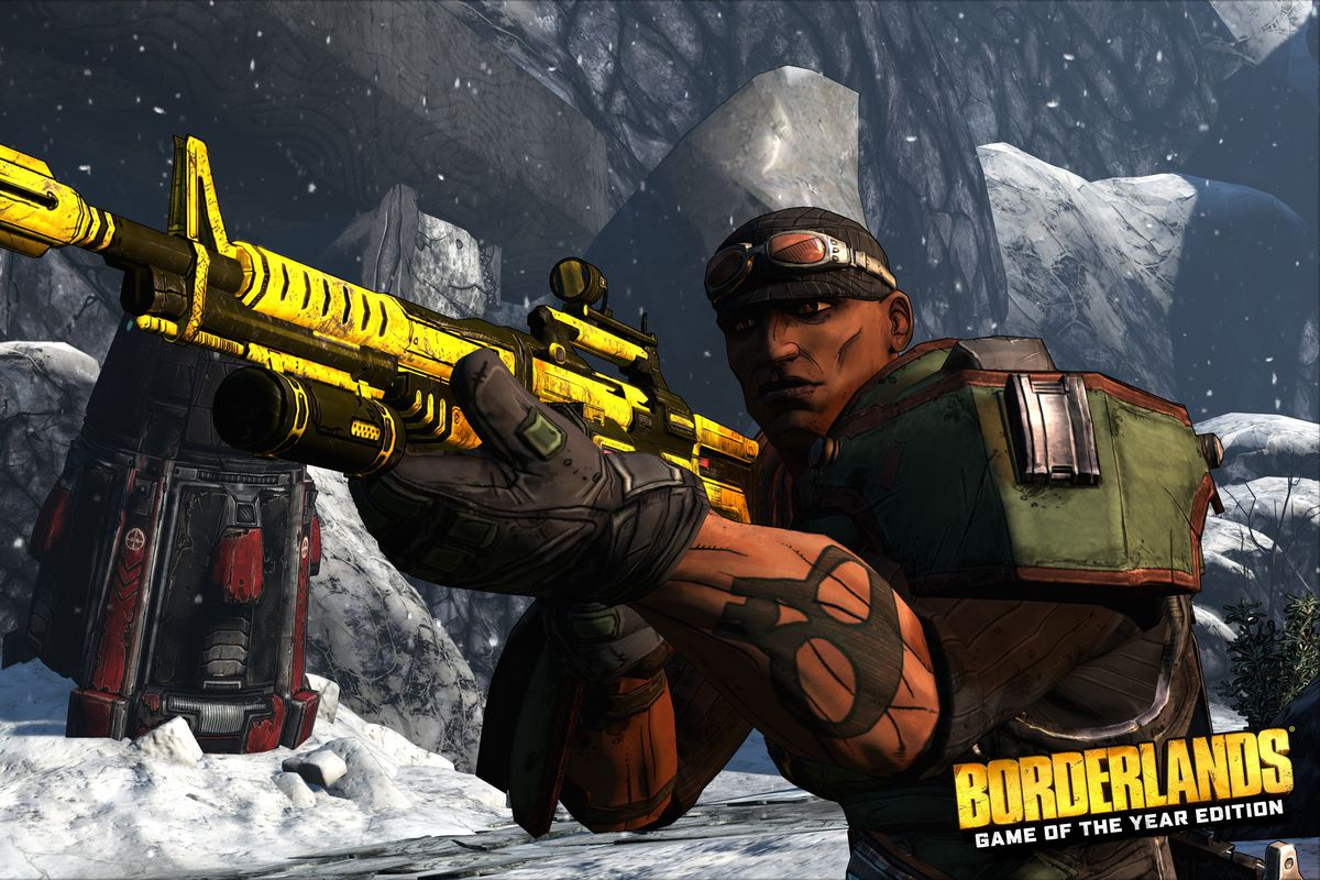 A mercenary with a large, yellow rifle aims at an enemy