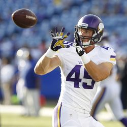 Aug 16, 2013; Orchard Park, NY, USA; Minnesota Vikings tight end Colin Anderson (45) catches a pass before the game against the Buffalo Bills at Ralph Wilson Stadium.
