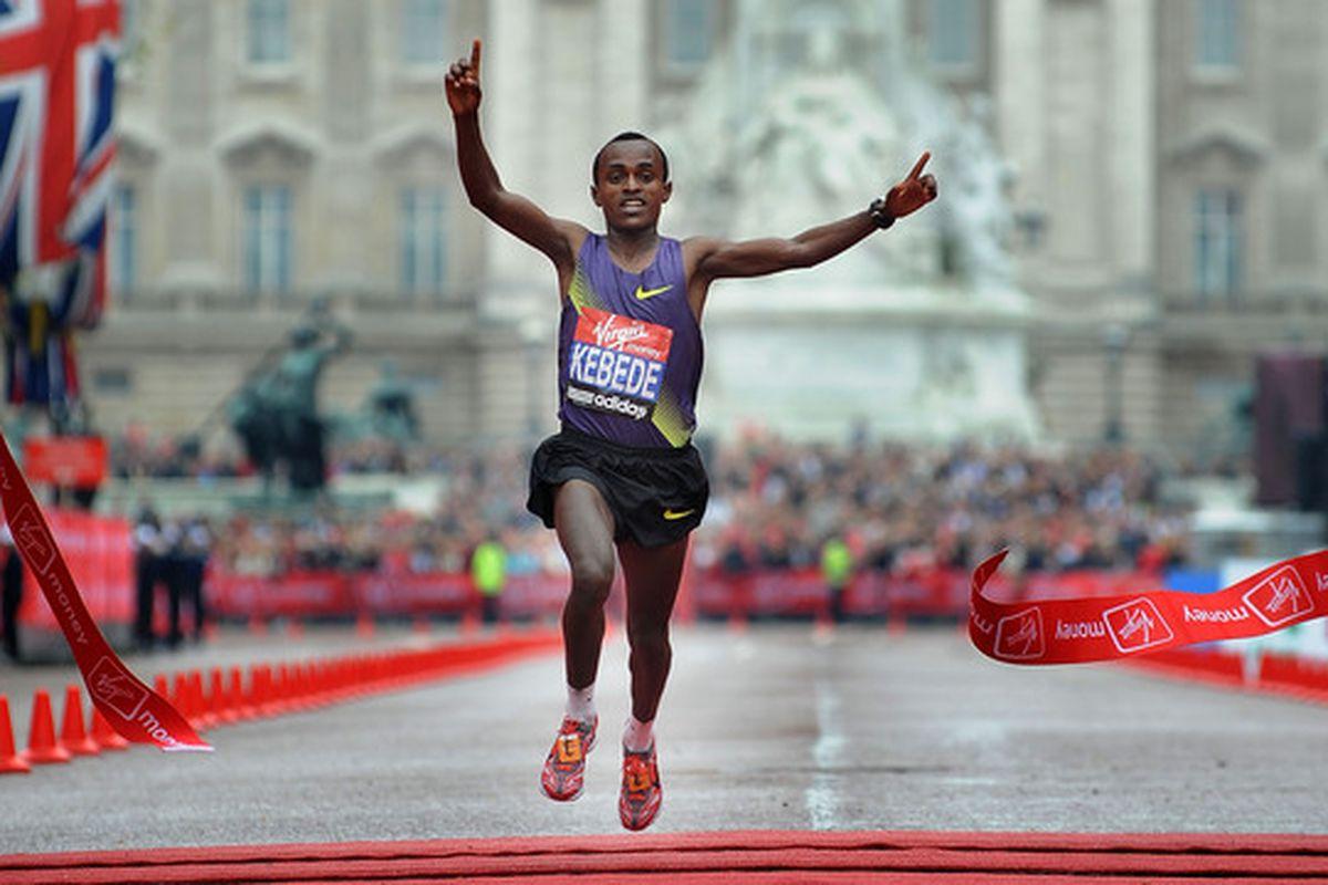 LONDON, ENGLAND - APRIL 25:  Tsegaye Kebede of Ethiopia wins the Elite Mens Marathon during the 2010 Virgin London Marathon on April 25, 2010 in London, England.  (Photo by Christopher Lee/Getty Images)