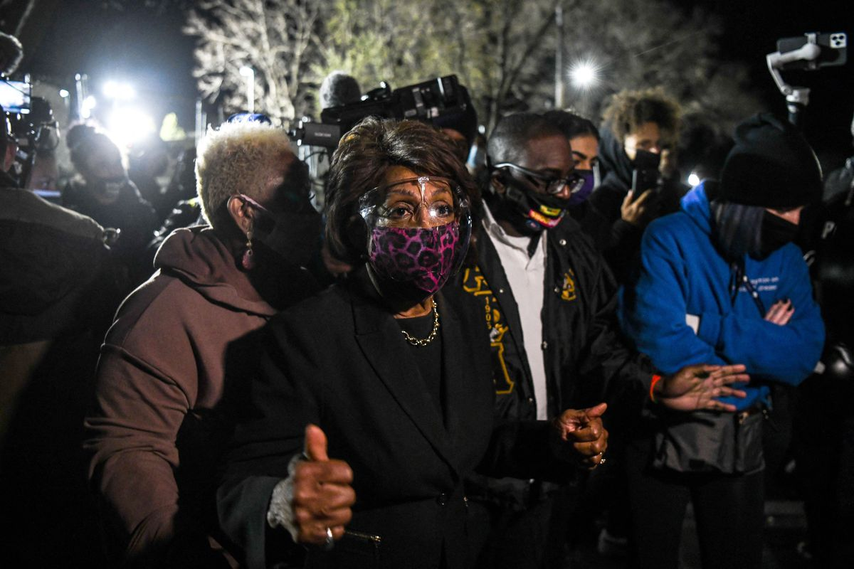 Rep. Maxine Waters (D-CA) speaks to the media on April 17 during an ongoing protest in Brooklyn Center, Minnesota.