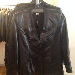 Cropped leather jacket, $399