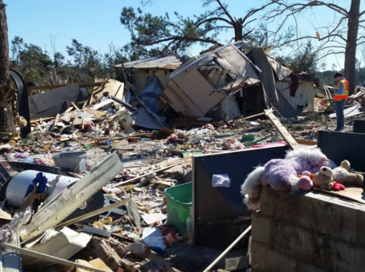 Rubble created by severe weather damage