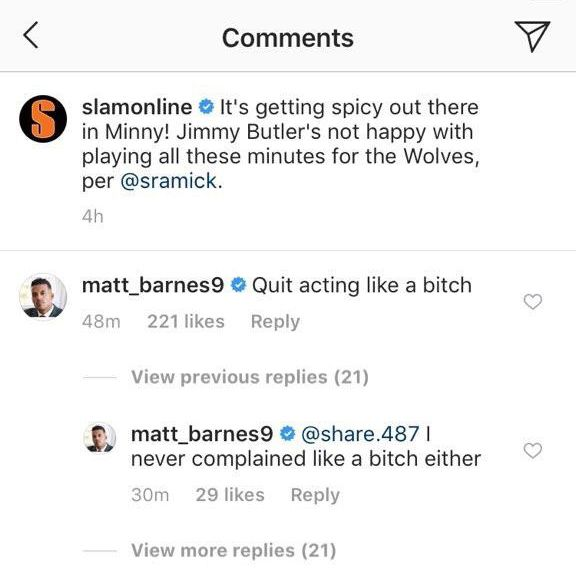 """In an instagram comment on a SLAM story, Matt Barnes writes """"Quit acting like a bitch."""" and """"I never complained like a bitch either."""""""