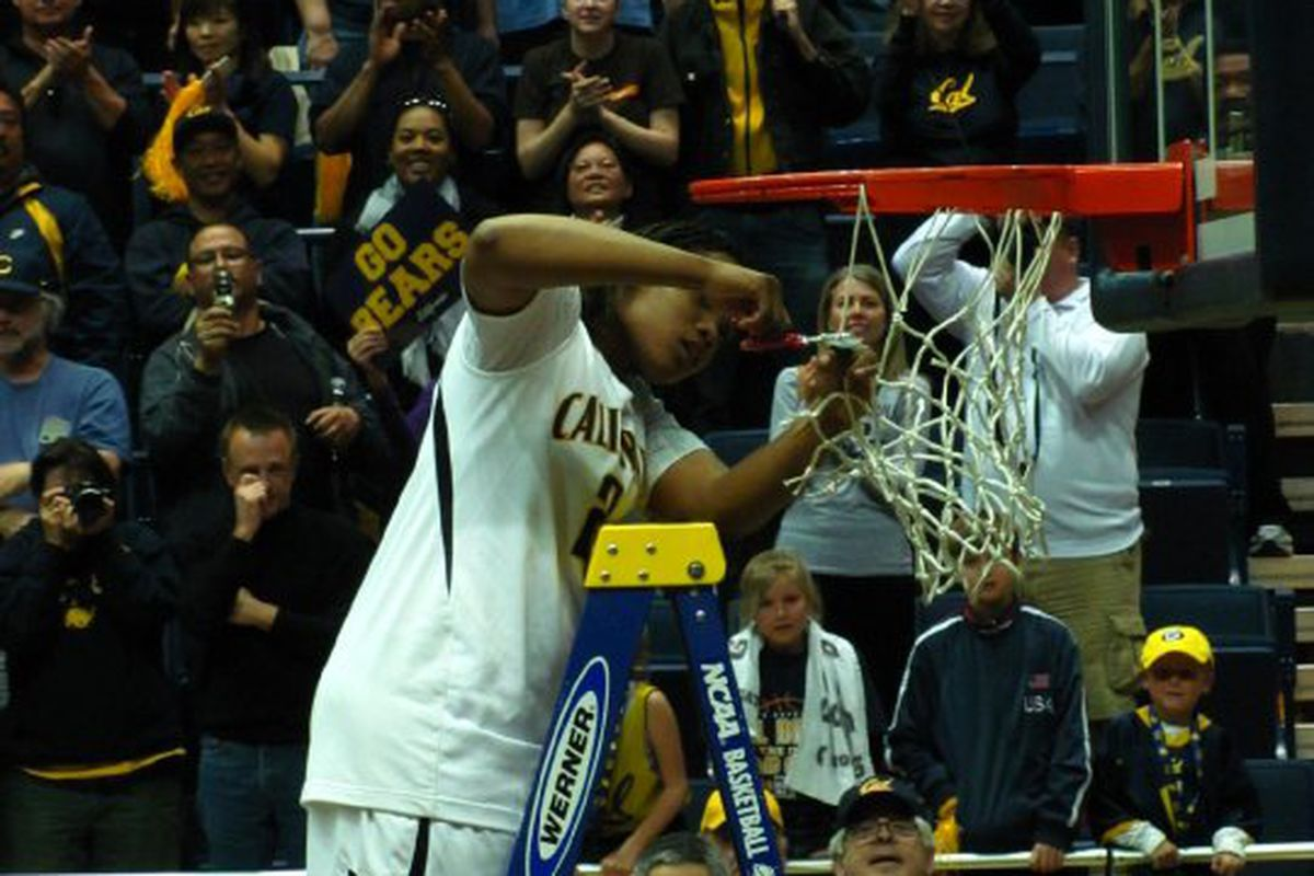 Alexis Gray-Lawson cuts down the nets at Haas Pavilion after defeating Miami to win the WNIT.