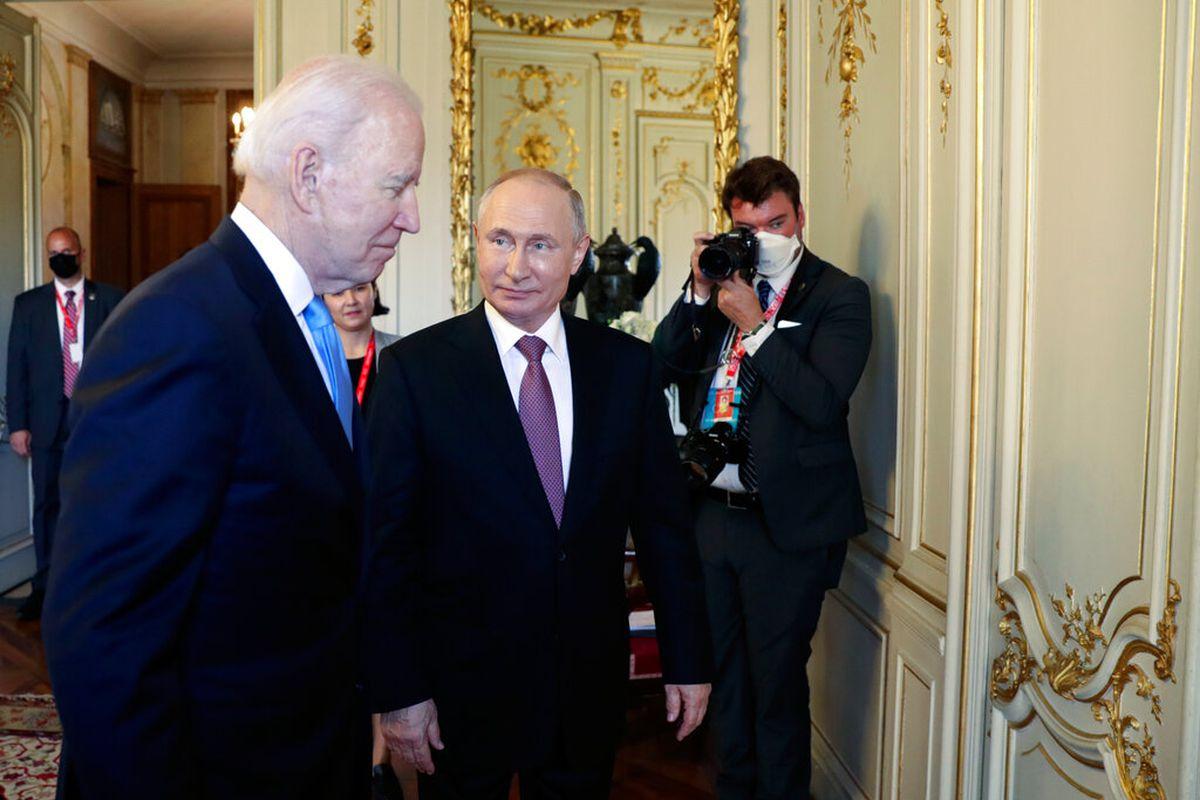 U.S President Joe Biden, left, and Russian President Vladimir Putin in Geneva, Switzerland, Wednesday, June 16, 2021.