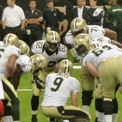 The offense gets ready to go to work.