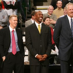 Former Jazz players (from left to right) Jeff Hornacek, Pace Mannion, Thurl Bailey and Mark Eaton and former Jazz coach Frank Layden watch the Karl Malone retiring of his jersey Mar 23, 2006 in Salt Lake City.