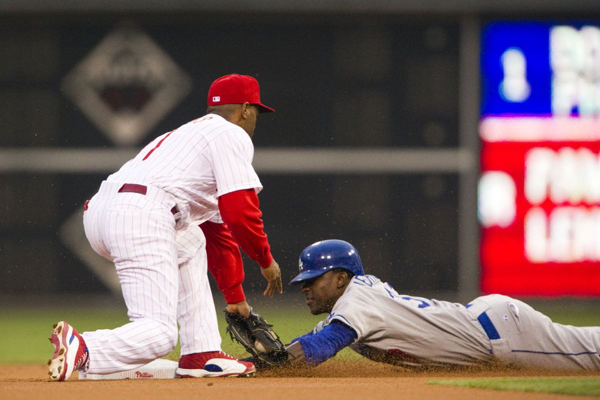Elian Herrera stole this base earlier in the game, then drove in the winning run in the ninth inning.