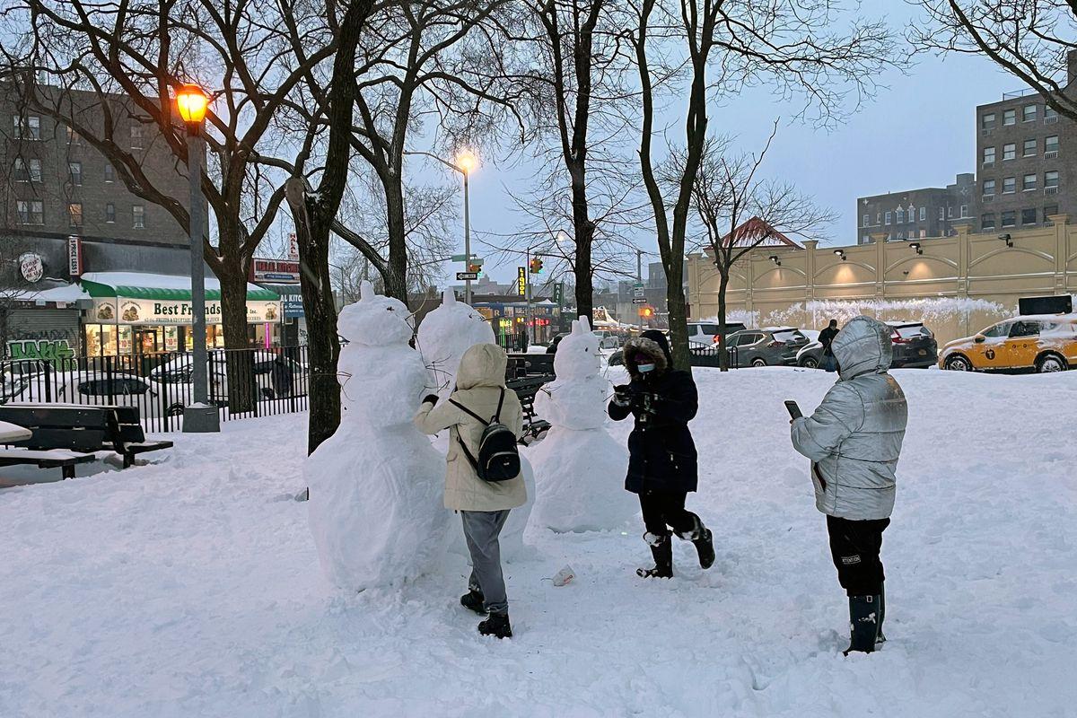 Snowmen came to life in Sunnyside's Noonan Park, Feb. 1, 2021.