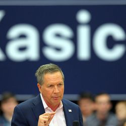 Ohio Gov. John Kasich speaks to a group of potential voters in the Grande Ballroom at UVU Friday, March 18, 2016.