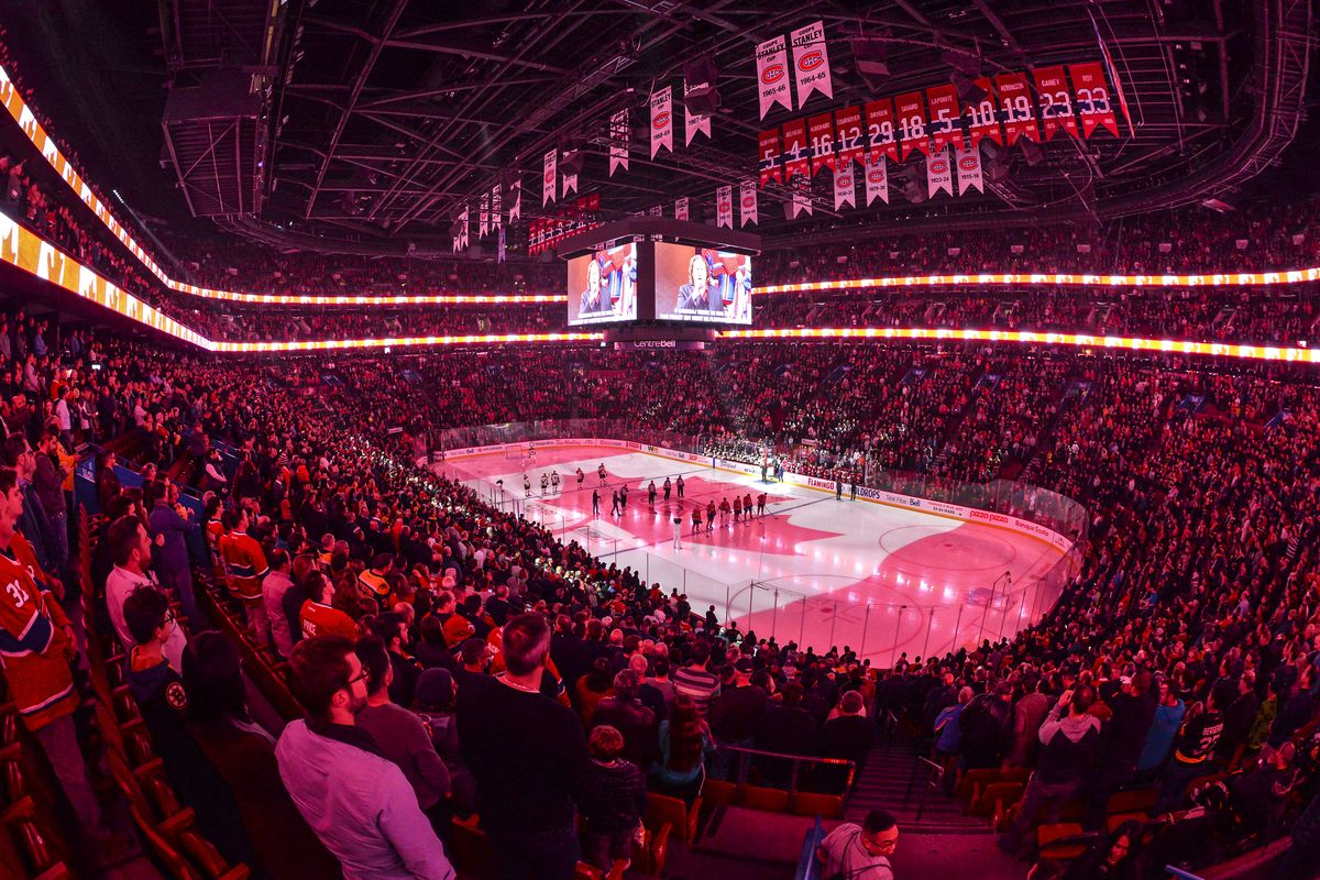 General view during the pre-game ceremony between the Montreal Canadiens and the Boston Bruins at the Bell Centre on November 26, 2019 in Montreal, Canada.