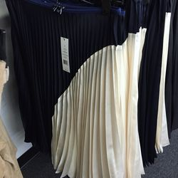 Navy and muslin pleated skirt, $99 (was $475)