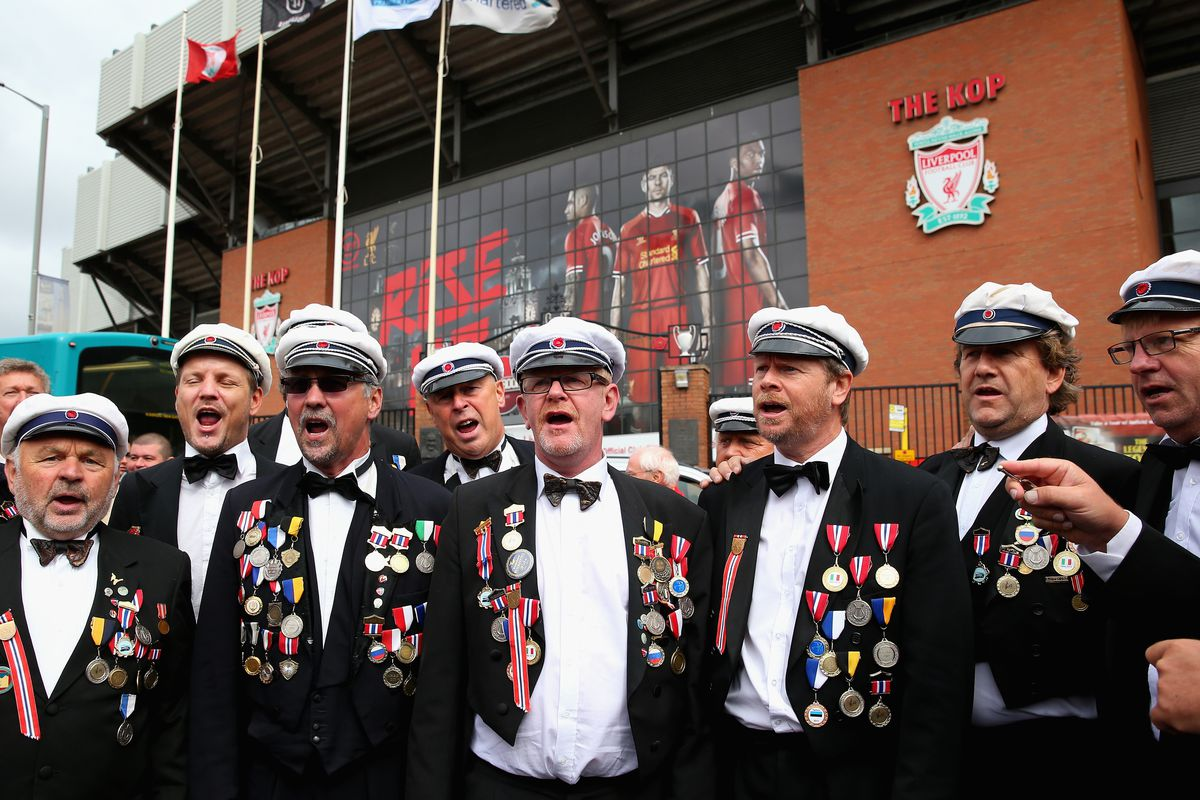 """""""A Norwegian Male Voice Choir perform prior to the Barclays Premier League match between Liverpool and Manchester United at Anfield on September 01, 2013 in Liverpool, England."""" Because of course."""