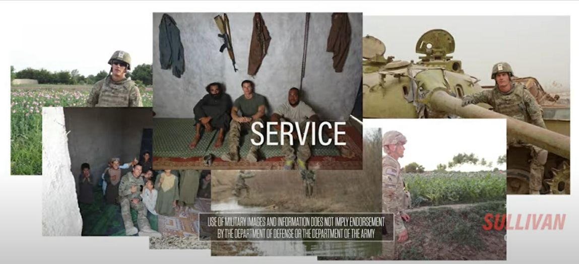 Images of Jesse Sullivan serving in Afghanistan from his campaign commercial.