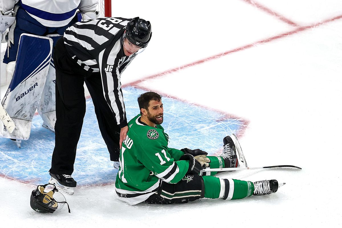 Andrew Cogliano #11 of the Dallas Stars reacts against the Tampa Bay Lightning during the second period in Game Three of the 2020 NHL Stanley Cup Final at Rogers Place on September 23, 2020 in Edmonton, Alberta, Canada.