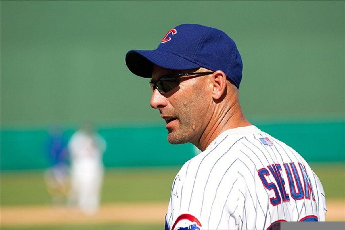 Mesa, AZ, USA; Chicago Cubs manager Dale Sveum at HoHoKam Park. Credit: Allan Henry-US PRESSWIRE