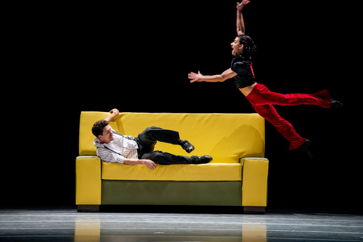 "The Joffrey Ballet's Temur Suluashvili and Fernando Duarte perform in ""The Sofa."""
