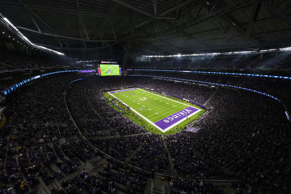 General view of interior of U.S. Bank Stadium from an elevated position before an NFL regular season football game between Washington and Minnesota Vikings on Thursday, Oct. 24, 2019 in Minneapolis.