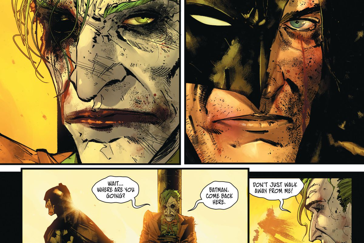 "Batman, with a cracked open mask, and the Joker, missing an eye, stare each other down. Then Batman walks away as the Joker protests, ""Where are you going? Batman. Come back here. Don't just walk away form me!"" in Batman #100, DC Comics (2020)."
