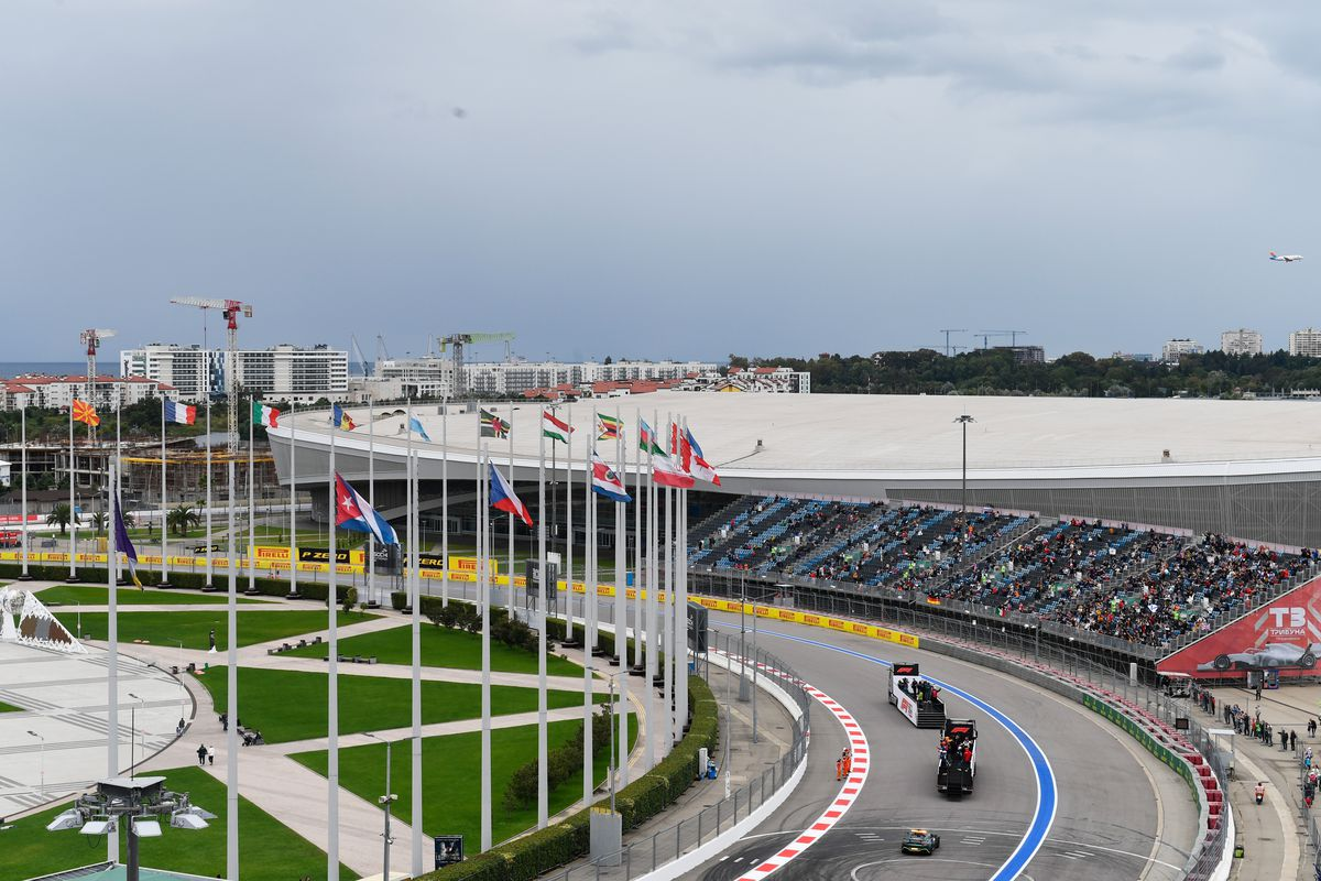 A general view of the drivers parade before during the F1 Grand Prix of Russia at Sochi Autodrom on September 26, 2021 in Sochi, Russia.