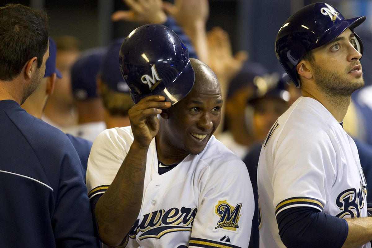 May 8, 2012: Milwaukee, WI, USA;  Milwaukee Brewers center fielder Nyjer Morgan (2) reacts after scoring during the fourth inning against the Cincinnati Reds at Miller Park.  Mandatory Credit: Jeff Hanisch-US PRESSWIRE