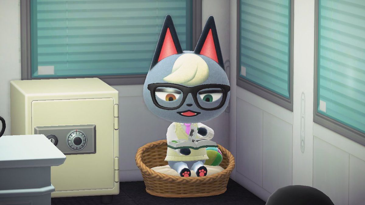 Raymond the cat sits in a cat bed in Animal Crossing while reading a book.