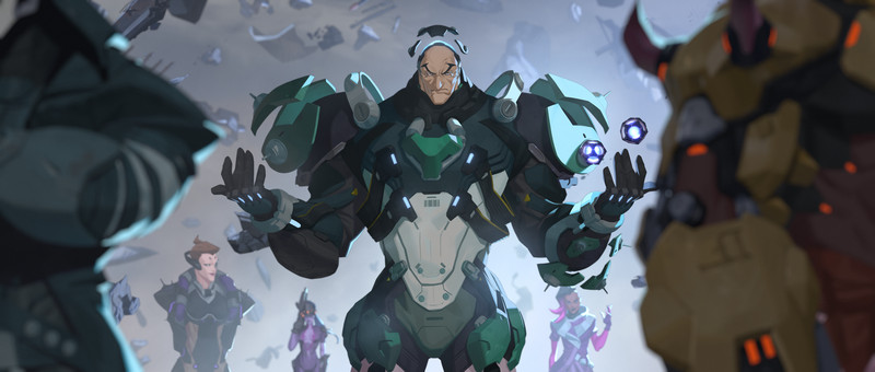Overwatch - Art from Sigma's origin animation, showing him hovering. He's wearing his in-game Overwatch uniform. Sigma is surrounded by the other members of Talon.