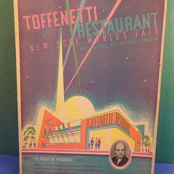 "Toffenetti restaurant menu cover via <a href=""http://www.ebay.com/itm/1939-New-York-Worlds-Fair-TOFFENETTI-RESTAURANT-MENU-Colorful-/120926716090?pt=LH_DefaultDomain_0&hash=item1c27cb40ba#ht_500wt_901"">eBay</a>."