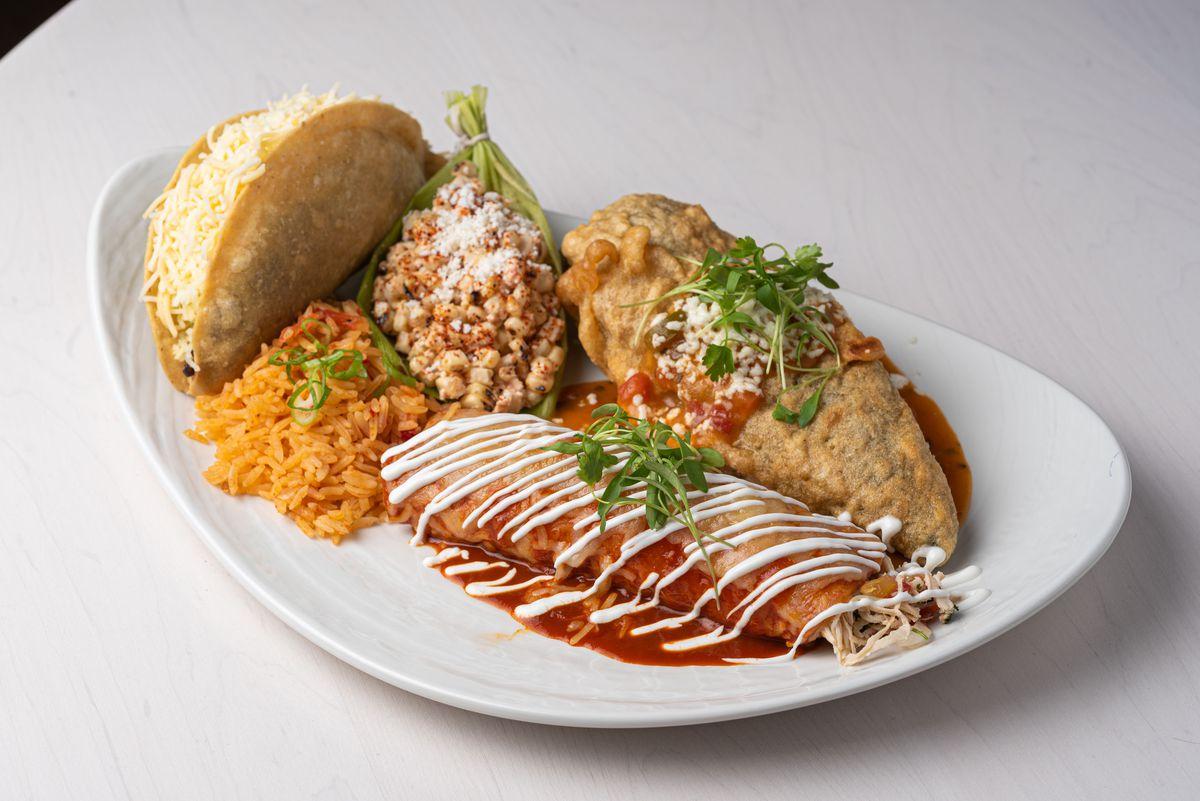 Enchilada and relleno at Esperanza restaurant in Manhattan Beach