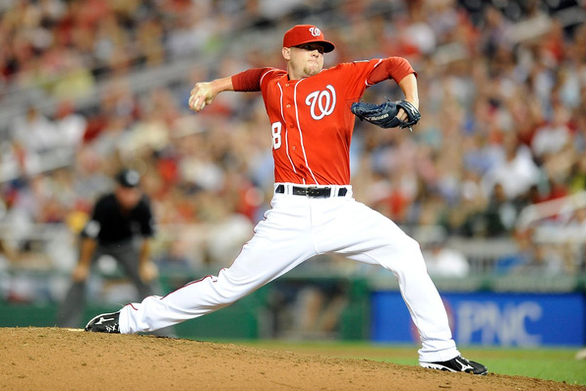 WASHINGTON - JUNE 18:  Drew Storen #58 of the Washington Nationals pitches against the Chicago White Sox at Nationals Park on June 18, 2010 in Washington, DC.  (Photo by Greg Fiume/Getty Images)