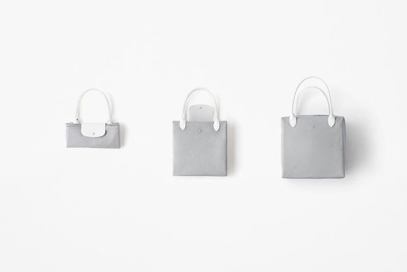 Gray bag folded up