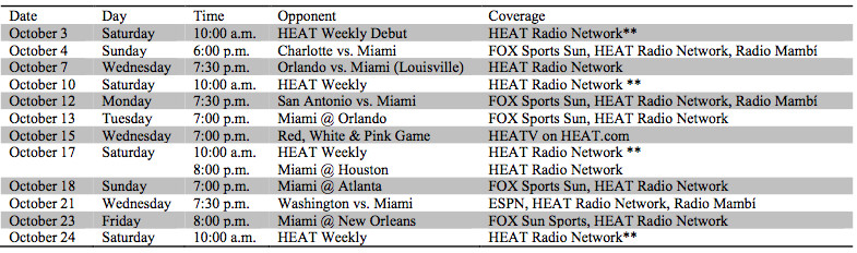 Heat preseason schedule