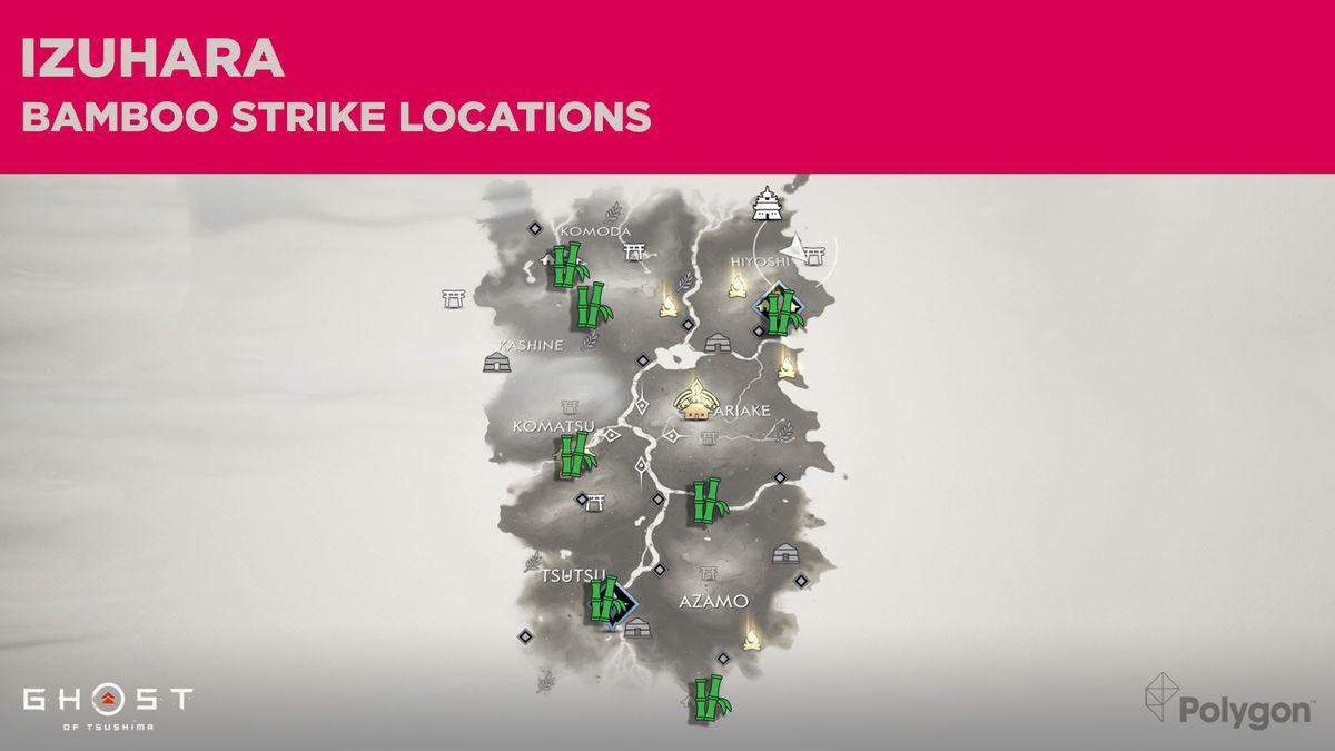All the Bamboo Strike locations in Izuhara in Ghost of Tsushima