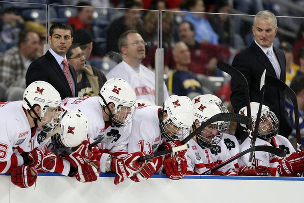 The Miami Redhawks bench reacts to their loss to the Boston College Eagles on April 8, 2010 during the semifinals of the 2010 NCAA Frozen Four at Ford Field in Detroit, Michigan. Boston College defeated Miami 7-1.  (Photo by Elsa/Getty Images)