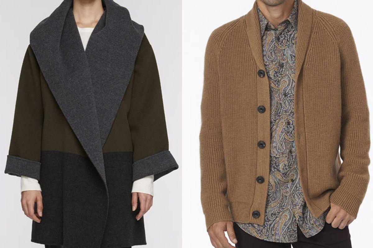 "Colorblock coat, <a href=""http://www.vince.com/colorblock-coat/invt/vnv156790431&amp;bklist=icat,4,shop,women,wfeaturedstyles3"">$750</a>; Shawl Collar Cardigan, <a href=""http://www.vince.com/shawl-collar-cardigan/invt/vnm16347048&amp;bklist=icat,4,s"
