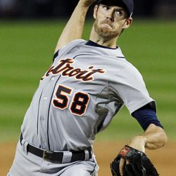 Detroit Tigers starting pitcher Doug Fister delivers during the first inning of a baseball game against the Chicago White Sox, Tuesday, Sept. 11, 2012, in Chicago.
