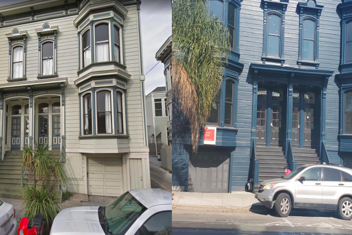 Two images of a square Italianate-style SF building side by side, the one on the left with a gray-green paintjob and the one on the right with a newer, more vivid teal color.