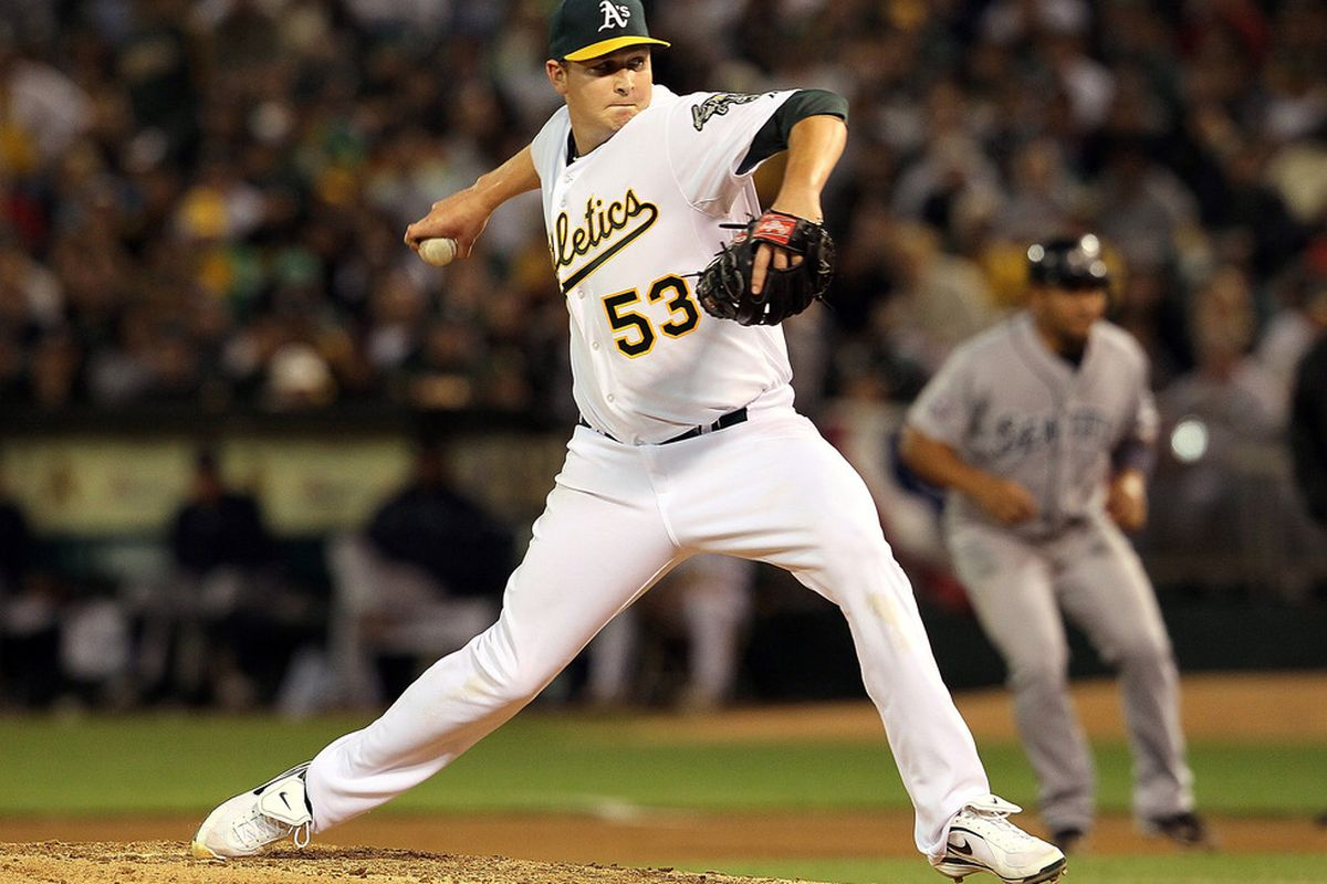 OAKLAND, CA - APRIL 01:  Trevor Cahill #53 of the Oakland Athletics pitches against the Seattle Mariners during the fourth inning at the Oakland-Alameda County Coliseum on April 1, 2011 in Oakland, California  (Photo by Justin Sullivan/Getty Images)